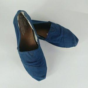 Toms Blue Canvas Cassic SlipOns Size W8